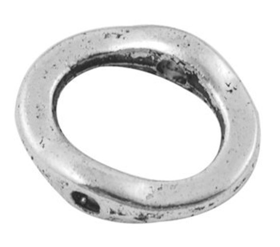 50 pcs Antique Silver Oval 2 hole Link/ Connector, 15x13mm, FREE SHIPPING to USA
