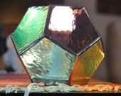 Geometric Stained Glass Lamp, Multi Colored Dodecahedron
