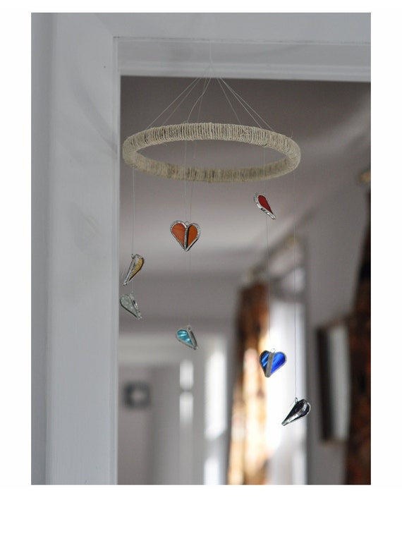 Flying Hearts Mobile in rainbow colored stained glass (red, amber, yellow, green, blue, purple)