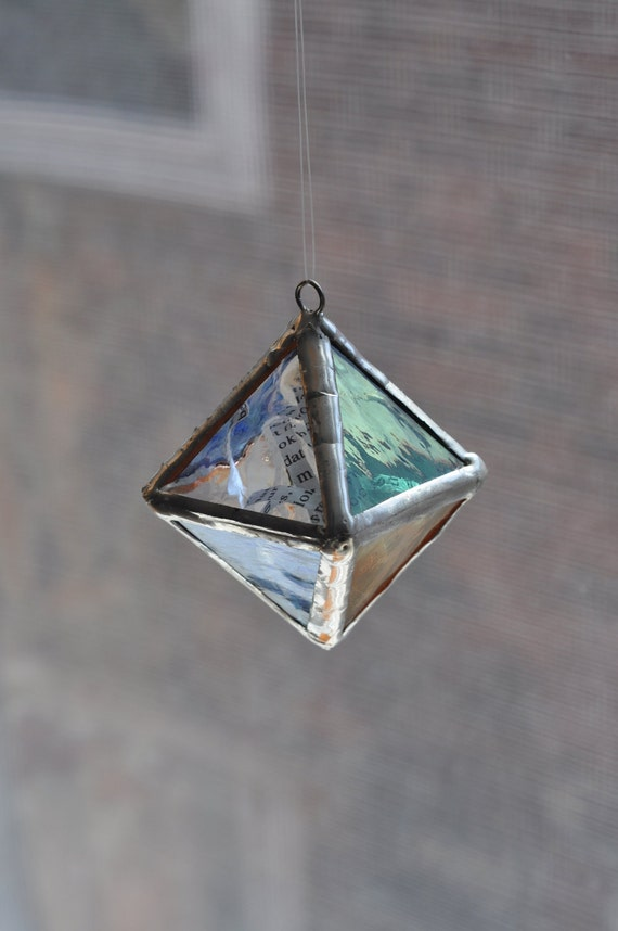 Octahedron No.13, Dr. Seuss, Happy Birthday to You, Platonic Solid Stained Glass Sculpture