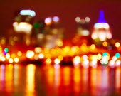 Pittsburgh Fire Lights and Water Photograph, Crimson Red Yellow