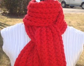 Women's Scarf Knit. Red.  Cable.Wool.Wide.Long.Fringe Cable  Scarf.Winter/Fall.Infinity. Women Gift.Knit.Wool Scarf. Select  your  color.