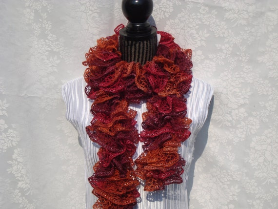 Ruffled Scarf.Knit. Orange/Rust/Red.Fall.lace.Woman.Gift. Light. All  seasons.Dressy.