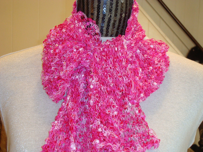 Ribbon Ladder Yarn Scarf.Knit in Pink. by designbyelena on Etsy