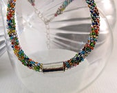 Beautiful Bead Crochet Necklace with Sterling Silver Accents