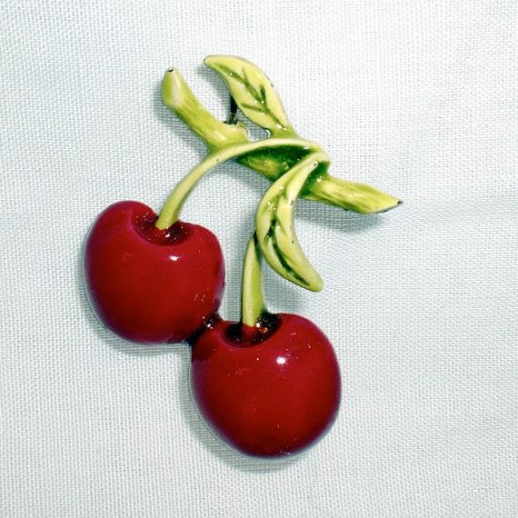 Vintage ART Cherry Brooch