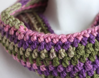 OOAK Tea Rose Cowl Infinity Scarf with Multicolored Pink, Purple and Green for Women Teens Girls