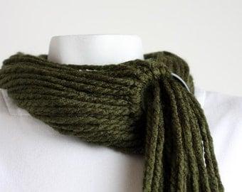 OOAK Adagio Dark Green Ring Scarf for Women Teens