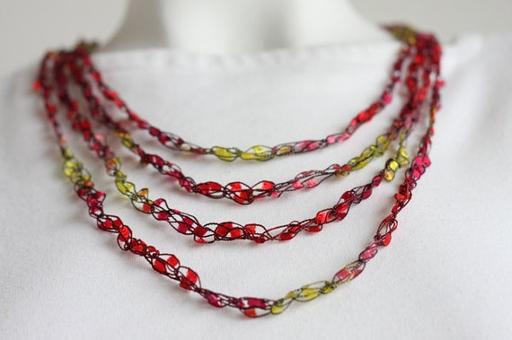 OOAK Elizabeth Anne Necklace with Multicolored Red and Yellow Gemstone Ribbon for Women Teens Girls