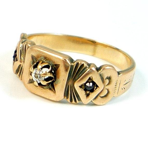 14K Antique Victorian Diamond CT Garnet Band Ring