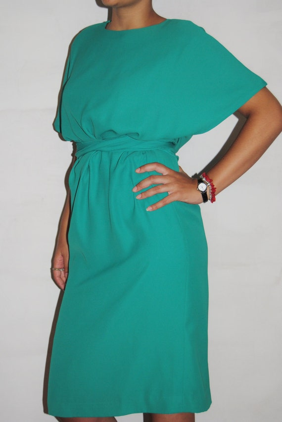 Teal party dress with belt