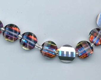 Six rarest-of-the-rare vintage Swarovski crystal pagoda beads: Art. 5107L - 12 mm - volcano