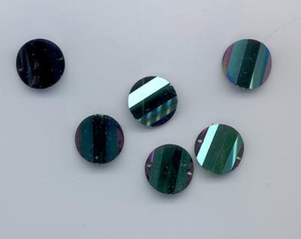 Six rarest-of-the-rare vintage Swarovski crystal pagoda beads: Art. 5107L - 16 mm - Jais scarabee