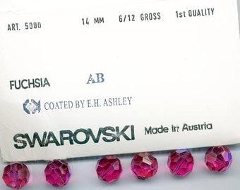 Six rare vintage Swarovski crystal beads - fuchsia AB - Art. 5000 - 14 mm