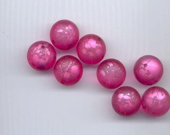8 fabulous large round vintage lucite beads -- translucent dark pink (almost fuchsia) with pink splashes