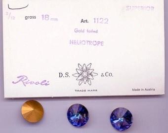 Three vintage Swarovski rivoli crystals - Art. 1122 - 18 mm - rare effect color heliotrope