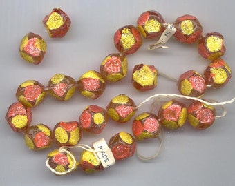24 vintage Japanese lucite beads - very funky multi-sided 12 mm rounds painted with yellow and vibrant red-orange