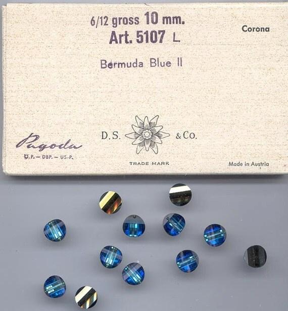 Twelve rarest-of-the-rare vintage Swarovski crystal pagoda beads: Art. 5107L - 10 mm - bermuda blue II