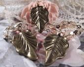 Antique Bronze - 3 Gorgeous Leaf Charms --- 3 Pieces --- CHM - 046