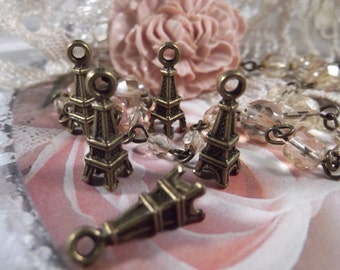 Antique Bronze - Eiffel Tower Charms - small --- 5 Pieces ---- CHM - 022