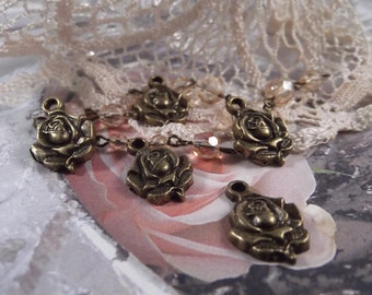 Antique Bronze - Sweet Rose Charms --- 5 Pieces --- CHM - 038
