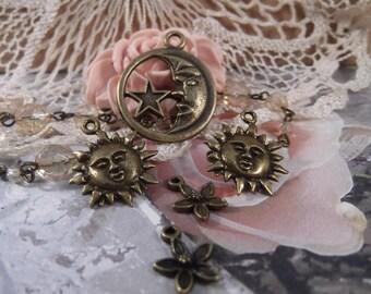 Antique Bronze Sun & Moon Set --- 5 Pieces  --- SET 84