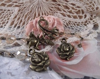 Antique Bronze Rose Set --- 3 Piece Set --- SET 86