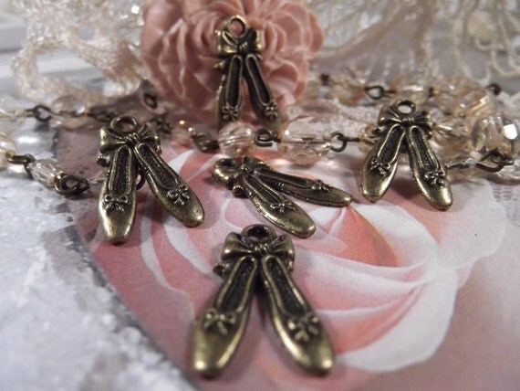 Antique Bronze - Ballet Shoe Charms --- 5 Pieces --- CHM - 037