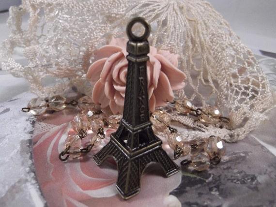 Antique Bronze Large Eiffel Tower Charm --- 2 Pieces --- CHM - 059