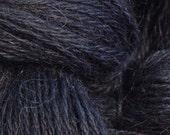 Hand Dyed Alpaca Yarn in Black - Finger Wt - 250 yds