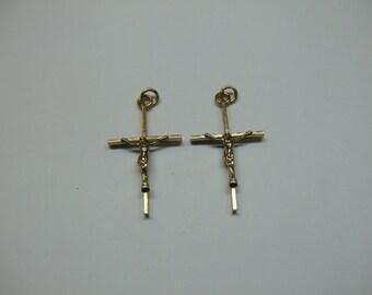 2 Pcs 14k G.F. Crosses 1/2 x 1 Inch