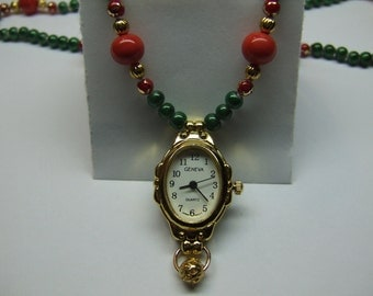 Knotted Bead Necklace With Watch Pendant