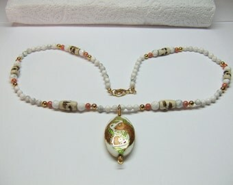 1- Knotted Bead Necklace With Oval Pices Cloisonne Pendant