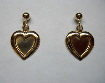 1- Pair Gold Filled Ball Post Earrings With Dangle Hearts
