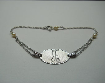 1- Sterling Silver Oval Initial A Bracelet