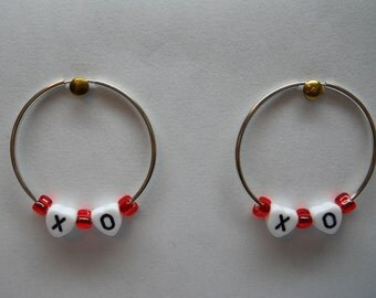1- Pair Sterling Silver X And O Hoops