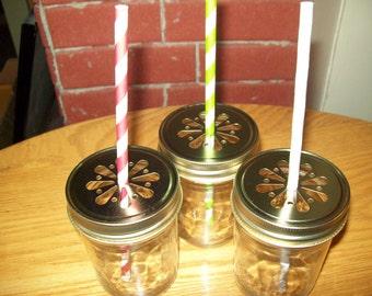 Gold Daisy Stamped  Mason Jar Lids Set of 12
