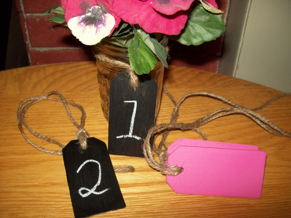 Set of 10 Tag Shaped  Chalkboard /Jute hanger Rustic Table Number Wedding Outdoor Choose Color