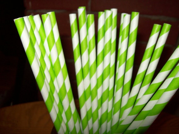 Retro Looking Lime Green & White Striped Paper Drinking Straws  50