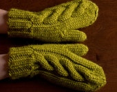 Green olive color mittens