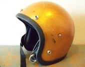 Gold Motorcycle Helmet - Metallic Gold Metal Flake - yellow vintage helmet -70s bicycle helmet