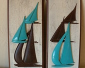 Burwood Arabesque Art Deco Wall Hangings-Carved Wooden Sailing Wall Plaques with original tag -Style 461-vintage nautical