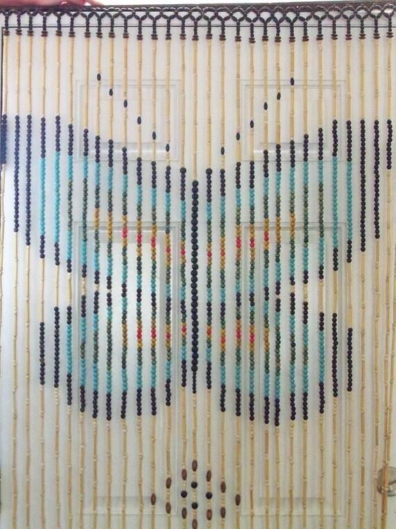 Sale Wooden Bead Door Curtain Vintage By Thetravelingowlshop