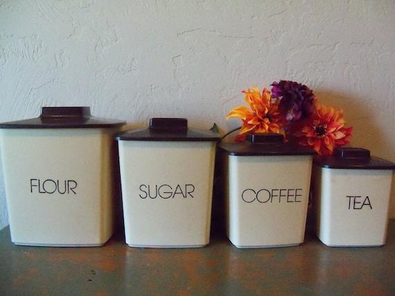 vintage kitchen canister set flour sugar coffee tea canisters 4 piece set sugar brown amp powdered flour storage
