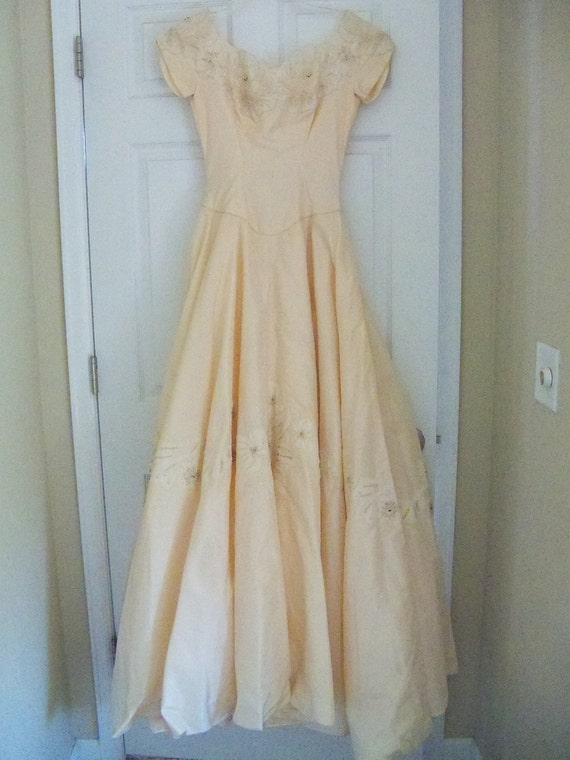 Saks39 peach wedding dress vintage saks by thetravelingowlshop for Saks wedding dresses