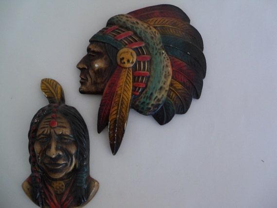Seminole Art Company RARE Indian Chalkware Multi Colored Native American Decor Chief Brave Warrior Head Feathers Western MARKED