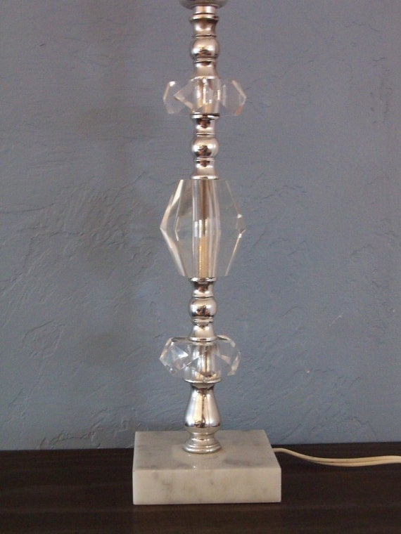 Vintage Marble Base Crystal Table Lamp With Three Tiered