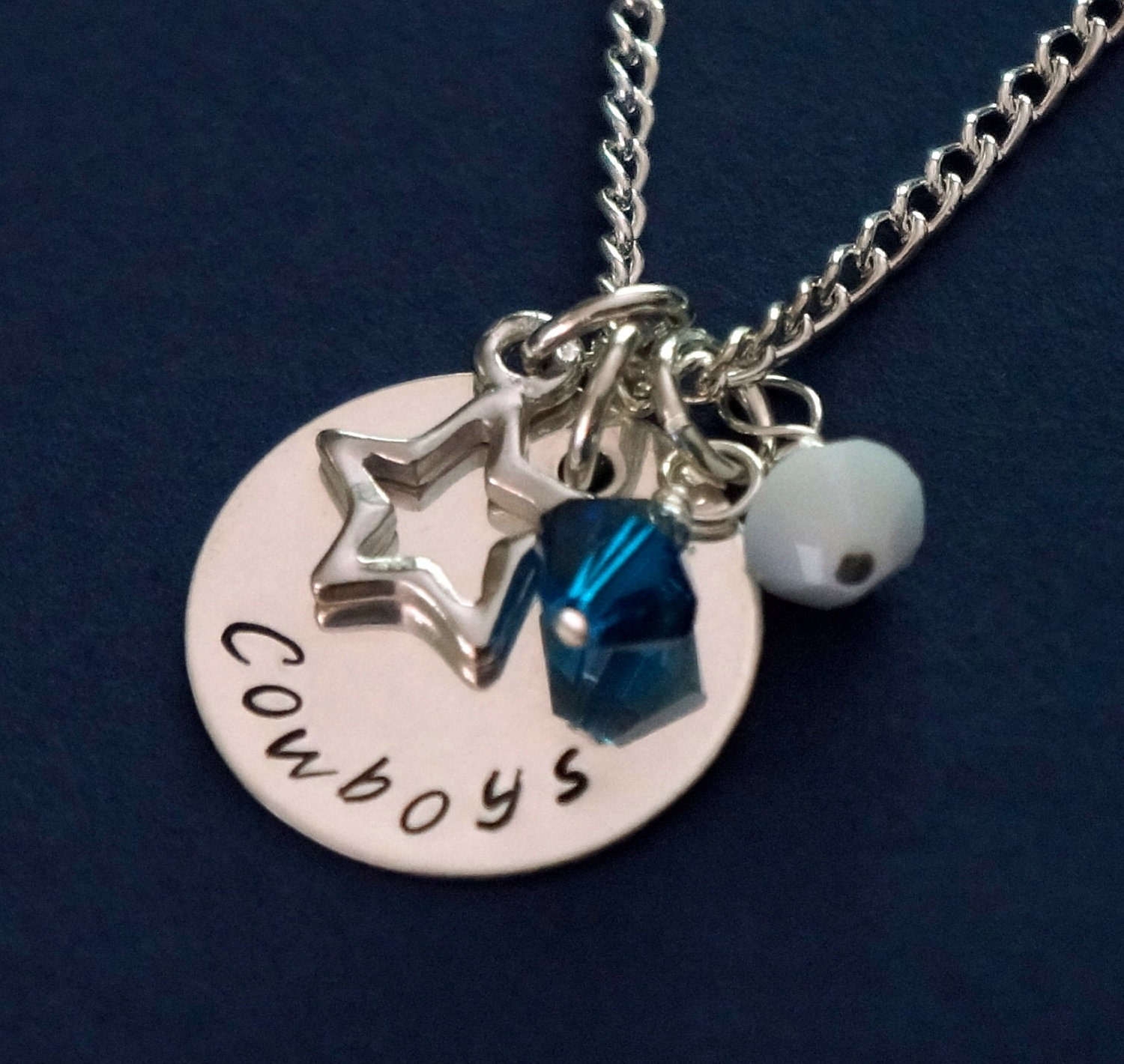 dallas cowboys jewelry hand stamped sterling silver charm. Black Bedroom Furniture Sets. Home Design Ideas