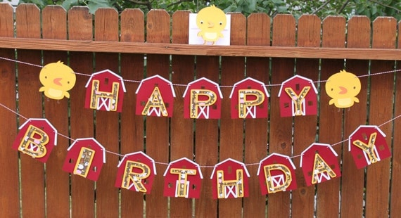 Red Barn Down on the Farm Happy Birthday Banner Bunting with Chicks
