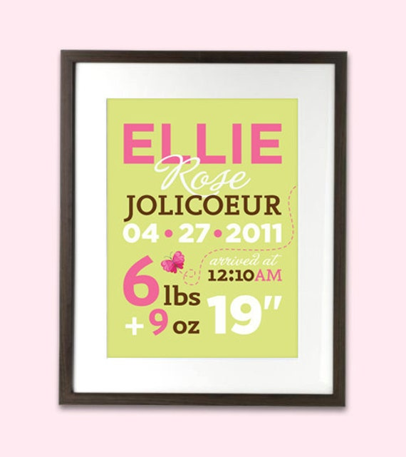 "Personalized baby birth statistics nursery art print - customizable colours - 8"" x 10"""